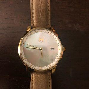 Women's watch, abalone shell, tan leather